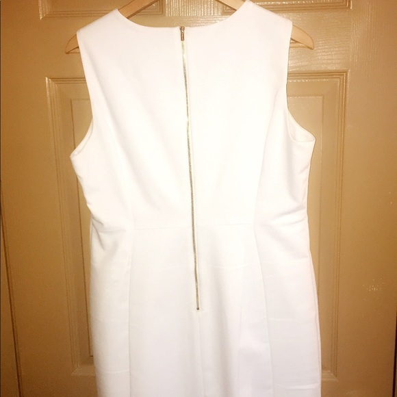 so cheap low price sale on feet images of White Calvin Klein dress with gold zipper